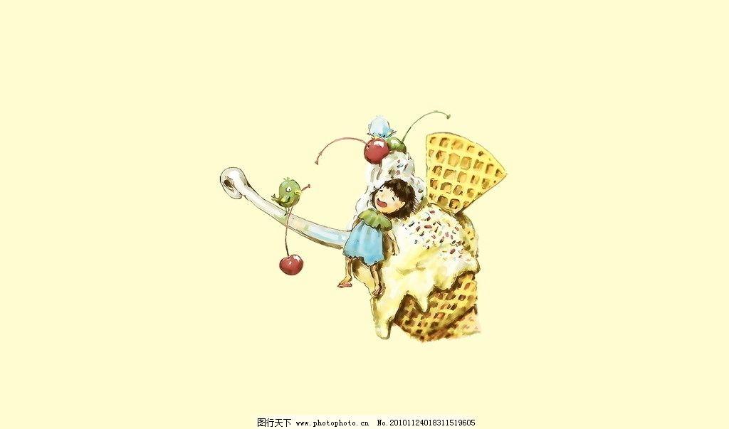 动漫壁纸 淡黄 色彩 可爱 少女 温馨 动漫 壁纸 糖果色 食物 冰激凌