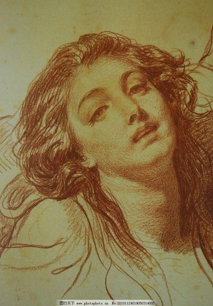 素描头像 法国画家 格勒兹