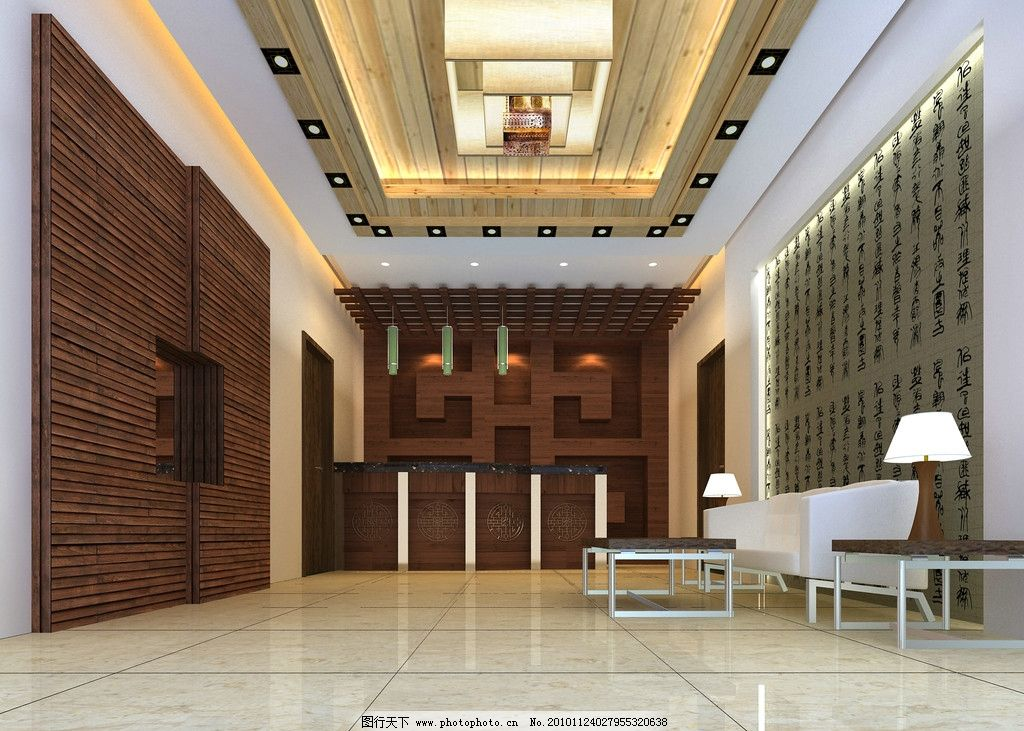 仿古风格餐馆大厅效果 仿古风格大厅 吧台 酒柜 沙发 茶几 木质形象墙