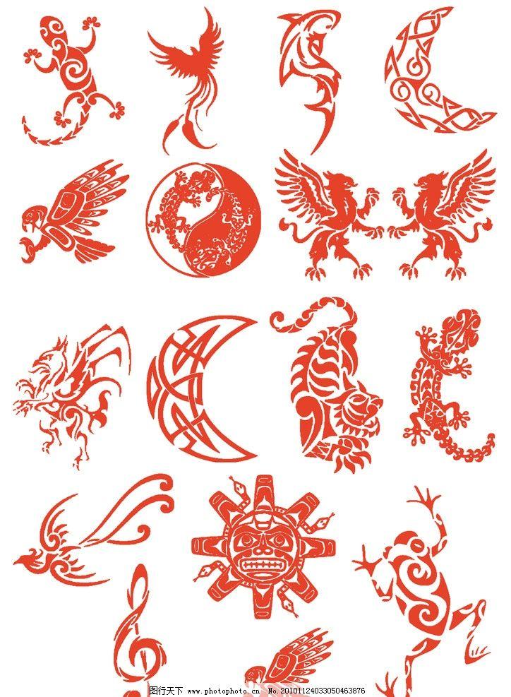 中国传统图案图片,民间 吉祥 纹样 剪纸 龙凤鹰-图行