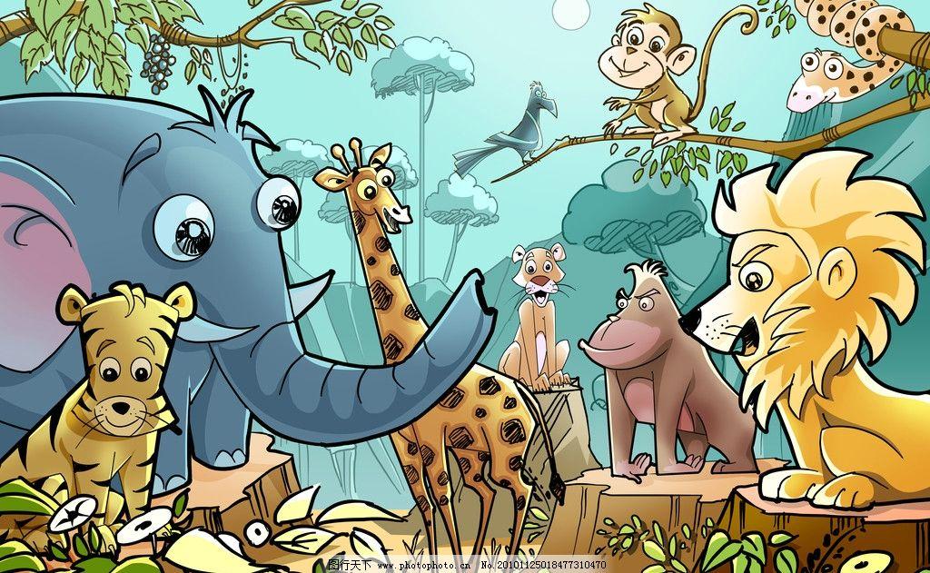 手绘卡通动物世界图片