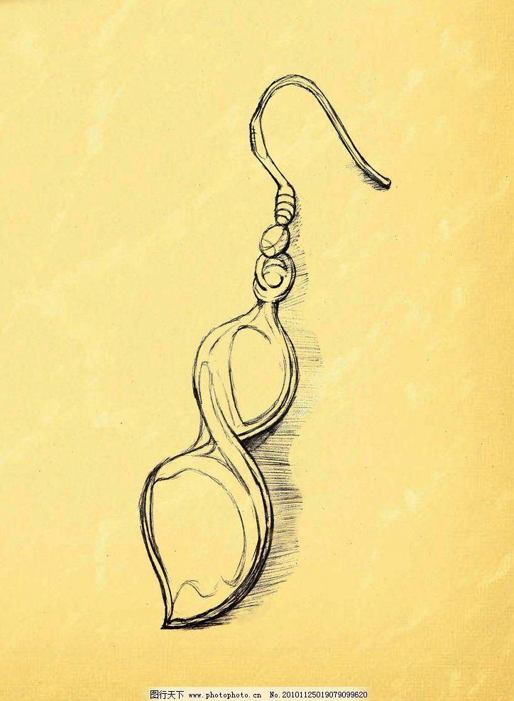 耳环 手绘耳环 画 首饰 饰品 绘画书法 文化艺术 设计 300dpi jpg