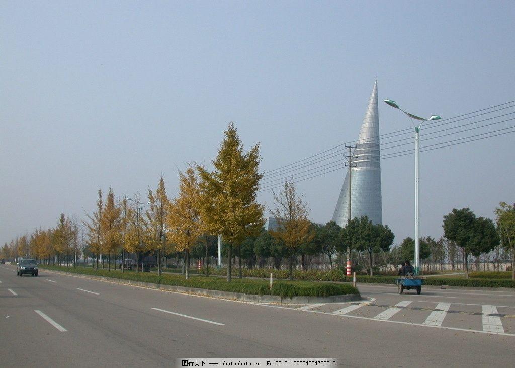 一叶知秋 马路 公路 建筑 银杏树 秋天 自然风景 自然景观 摄影 300