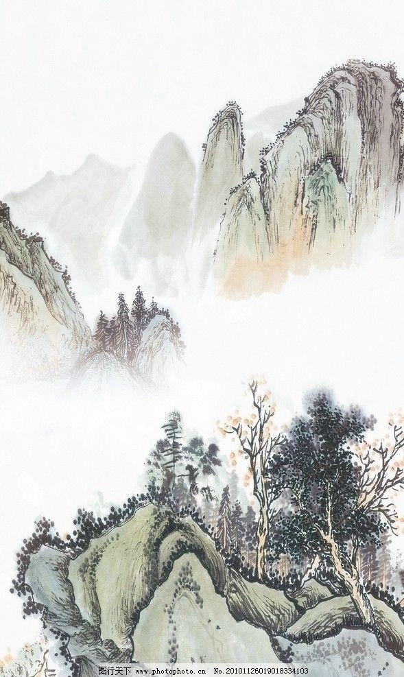 工笔画 山 水 山水 水墨 松树 远山 国画 山水画 风景画 风景 绘画