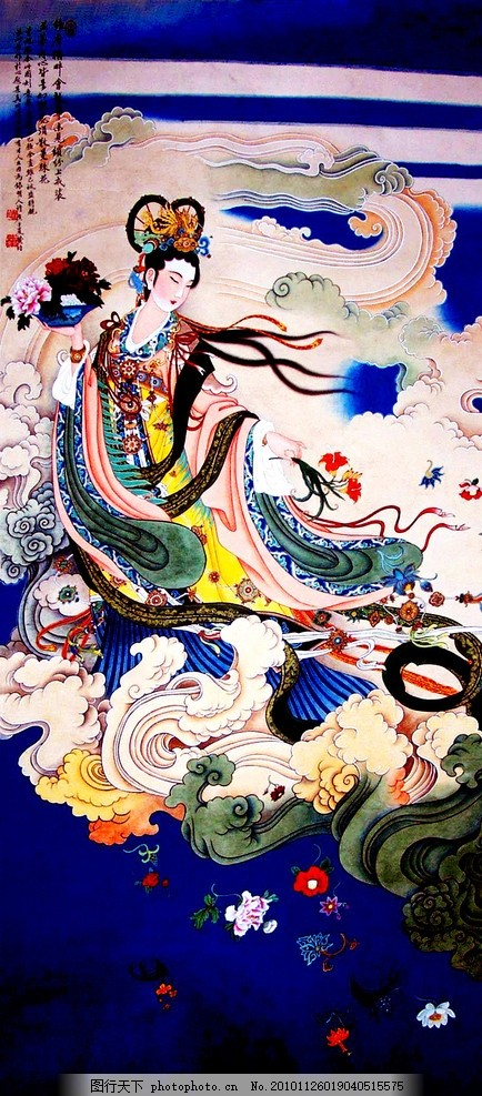天女散花 美术 中国画 工笔重彩画 人物 仕女 仙女 美人 美丽