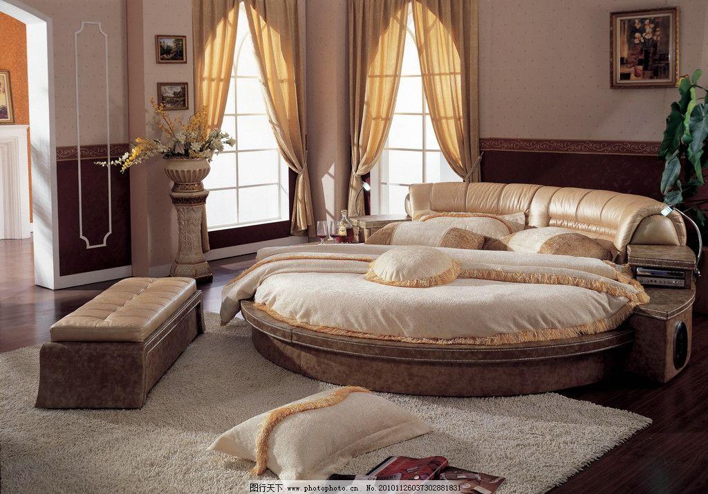 软床图片,家居 卧室 欧式床 饰品 地毯 抱枕 床头柜