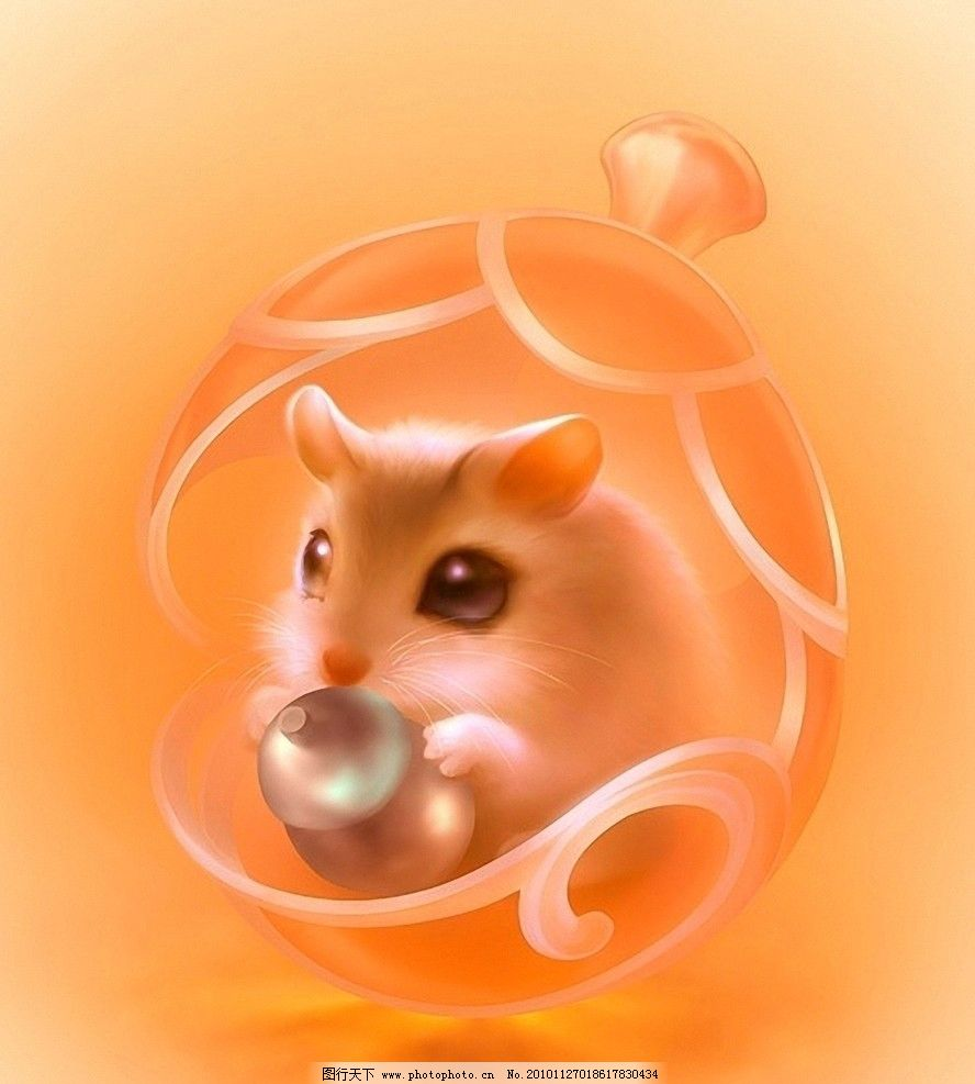 小老鼠 可爱 绘画 葫芦 动漫动画