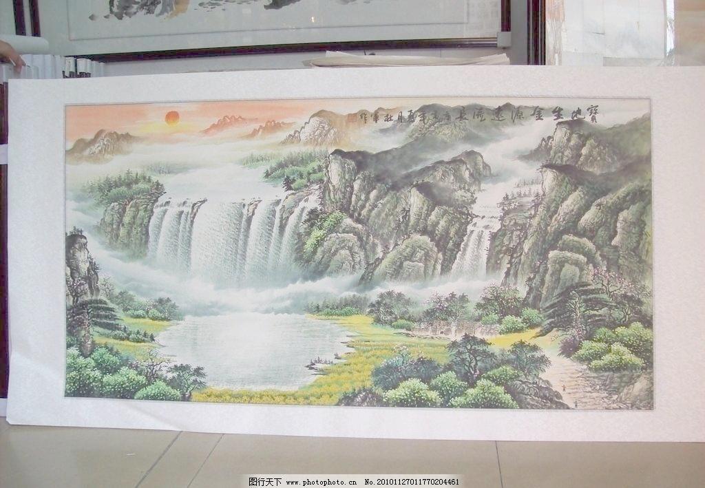 摄影 文化艺术 国画风景图片素材下载 国画风景 山水画 风景画 聚财