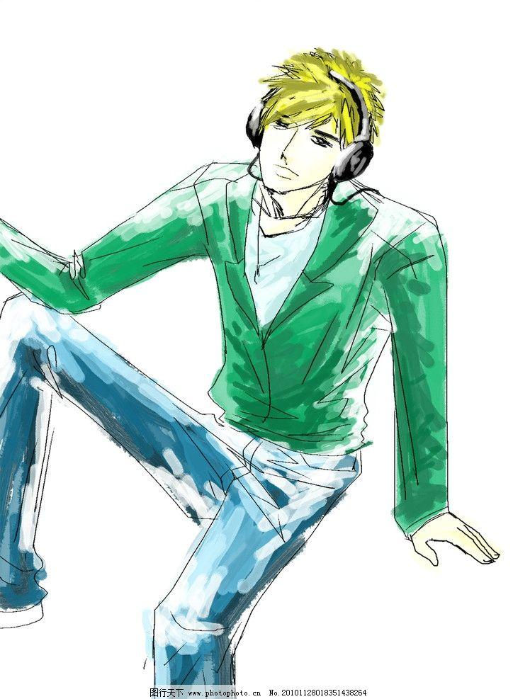戴耳机的男孩 绿色的他 青春 阳光 白底 动漫人物 动漫动画 设计 300