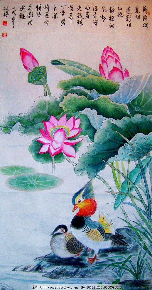 荷花鸳鸯 绘画 中国画 工笔重彩画 花鸟画 现代国画 植物 荷花 荷叶