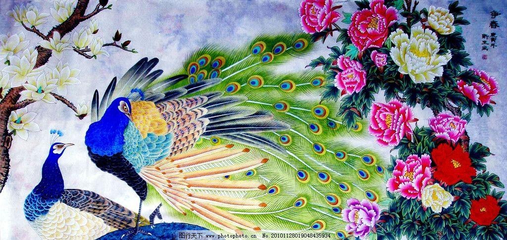 绘画 中国画 工笔重彩画 花鸟画 现代国画 孔雀 蓝孔雀 玉兰树 白玉