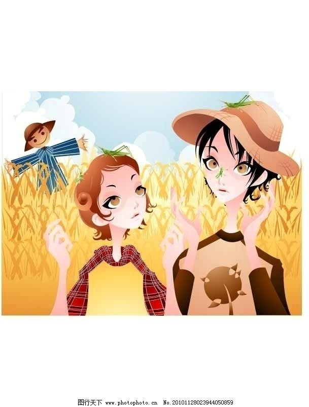 田园风格时尚插画图片
