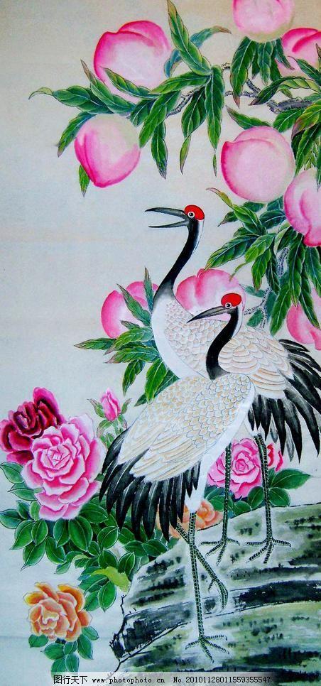 富贵长寿 绘画 中国画 工笔重彩画 花鸟画 现代国画 白鹤 桃树 桃子