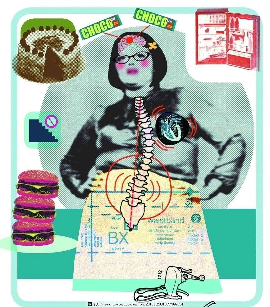 抽象医学 身体结构 骨骼 女人 人物 内脏 医疗护理 现代科技