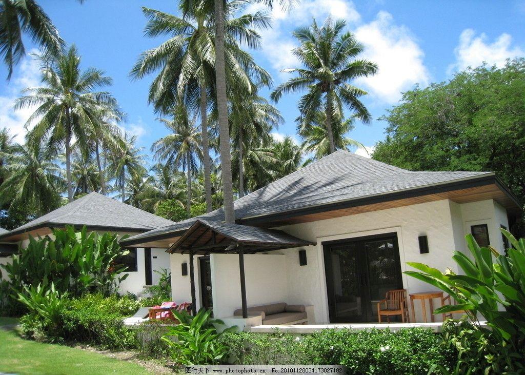 泰国酒店风景 泰国风景 岛屿 酒店风景 蓝天 树木 自然风景 旅游摄影