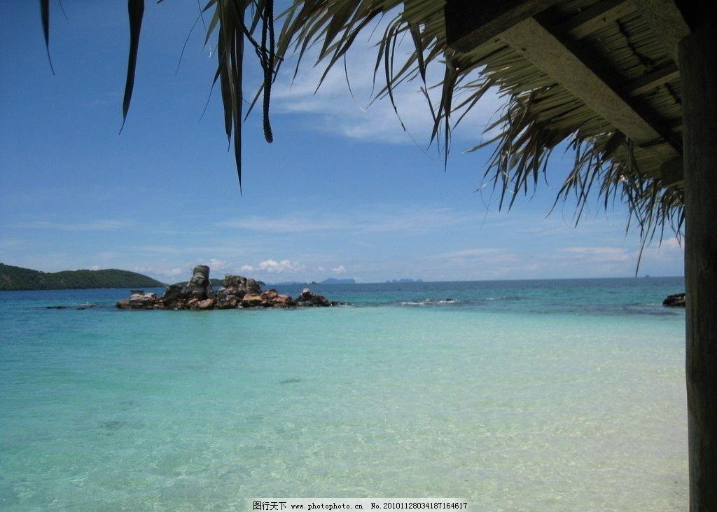 泰国酒店风景 泰国风景 岛屿 蓝天 树木 海水 旅游摄影 摄影