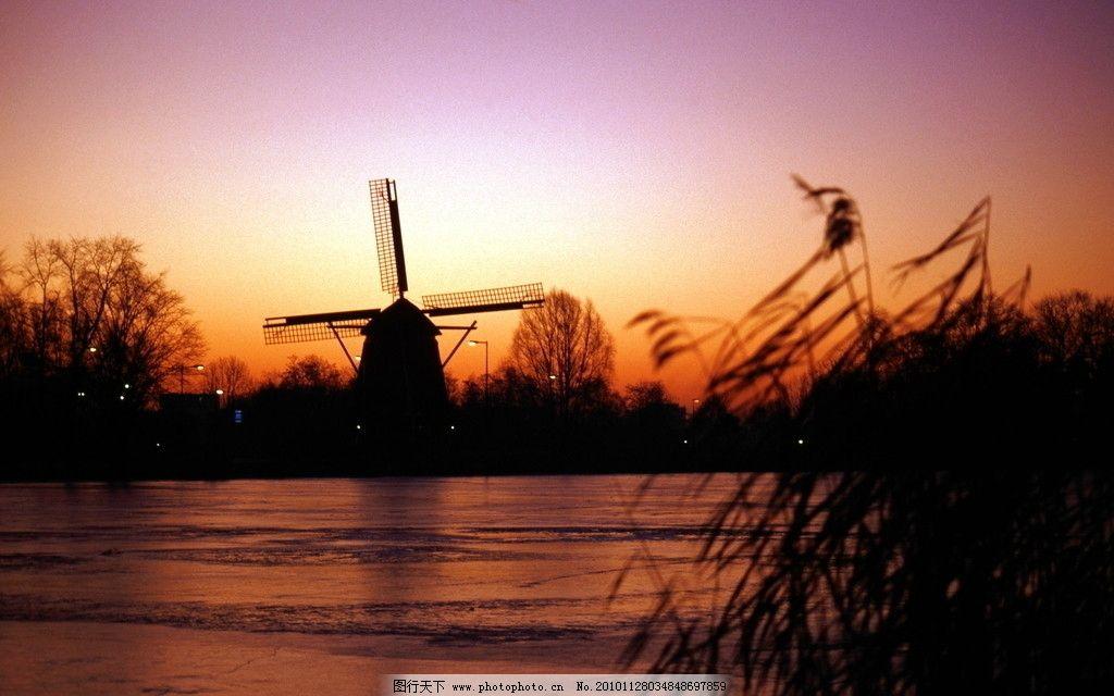 自然风光 湖水 湖泊 芦苇 风车 彩霞 夕阳 风景 河流 太阳