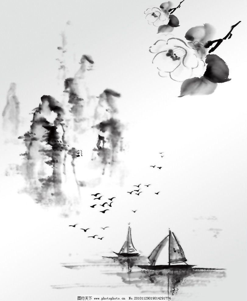 江畔 小船 山水画 水墨画 桃花 大雁 移门图 绘画书法 文化艺术 设计