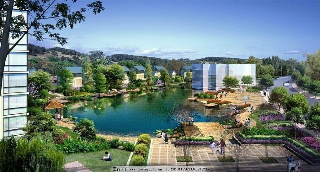 滨水广场景观分层效果图 滨水广场景观效果图 园林景观效果图 源文件