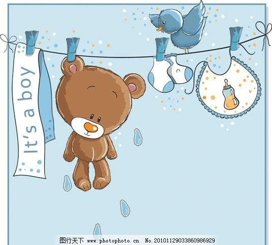 可爱婴儿卡通插画背景 儿童 小熊 晾晒 衣架 袜子 围兜 小鸟