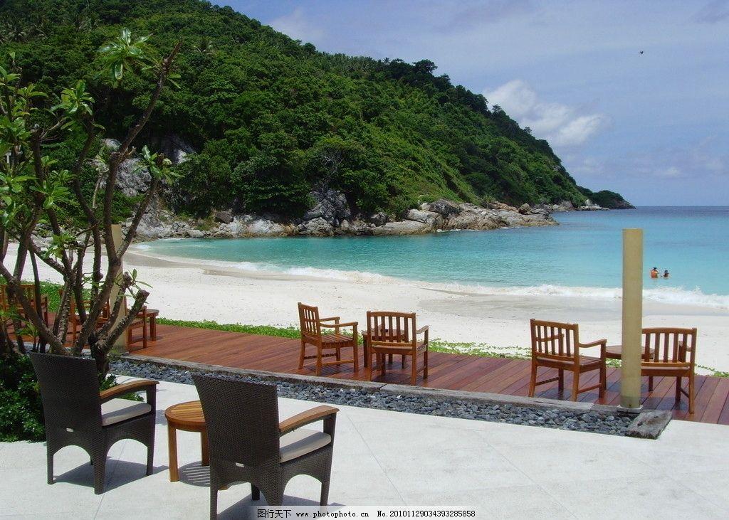 泰国风景 岛屿 酒店风景 蓝天 树木 海水 沙滩 其他 旅游摄影