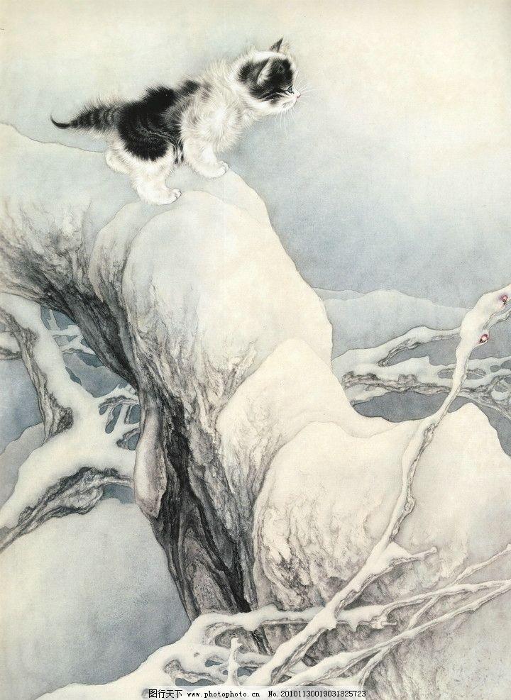 白描画 工笔画梅花 书法 树杆 树枝 鲜花 小猫 雪地 动物 绘画书法