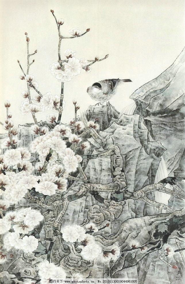 涧之声 工笔画 线描 国画 中国画 植物 树木 大师作品 风景画