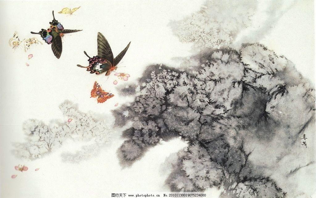 碟恋花 工笔画 线描 国画 中国画 植物 树木 大师作品 风景画 工笔画
