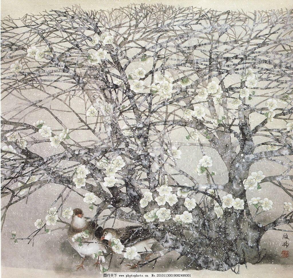 初雪 工笔画 线描 国画 中国画 植物 树木 大师作品 风景画