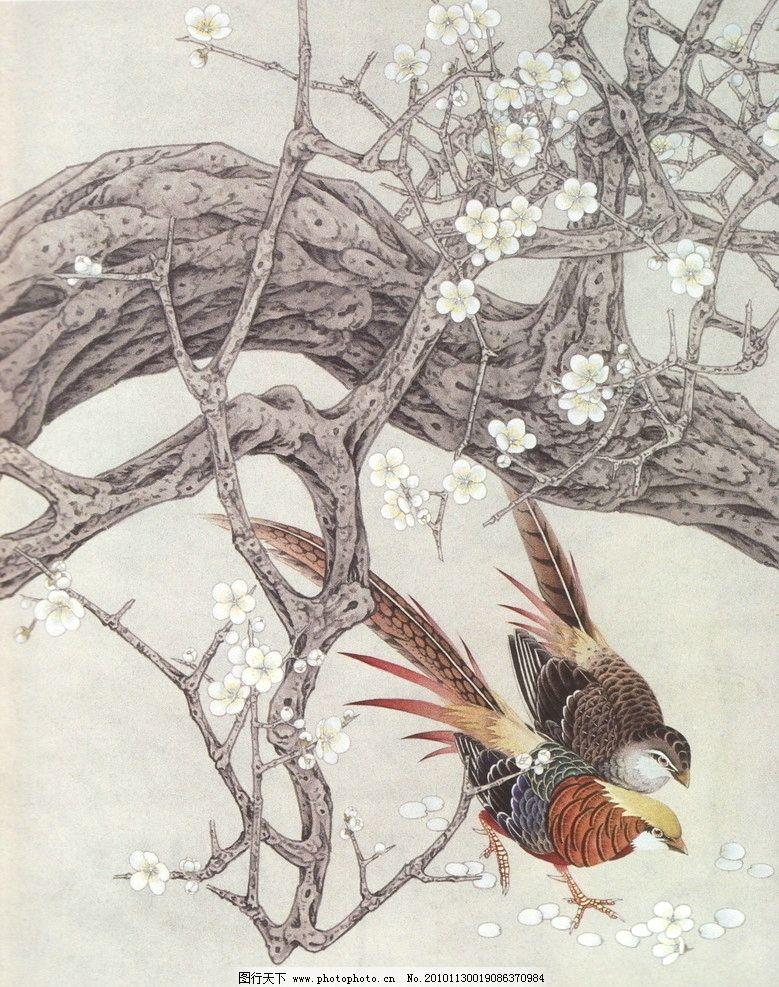 寒梅独开 工笔画 线描 国画 中国画 植物 树木 大师作品 风景画