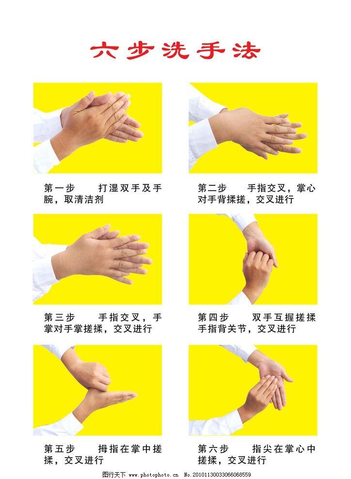 六步洗手法 医院洗手方法 洗手步骤 洗手顺序 分层素材 源文件