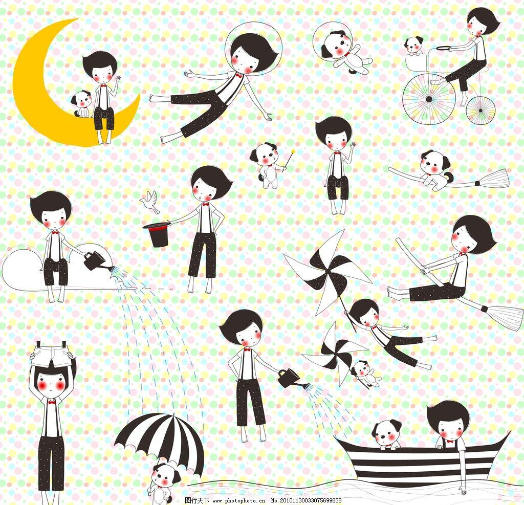 线条风格可爱男孩与小狗 手绘 线条 可爱 男孩 小狗 卡通 psd分层素材