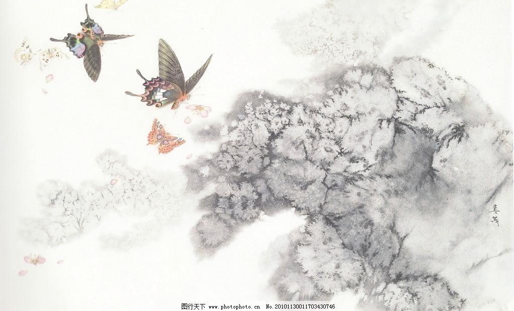 碟恋花 白描画 动物 风景画 工笔画 国画 蝴蝶 绘画书法 梅花