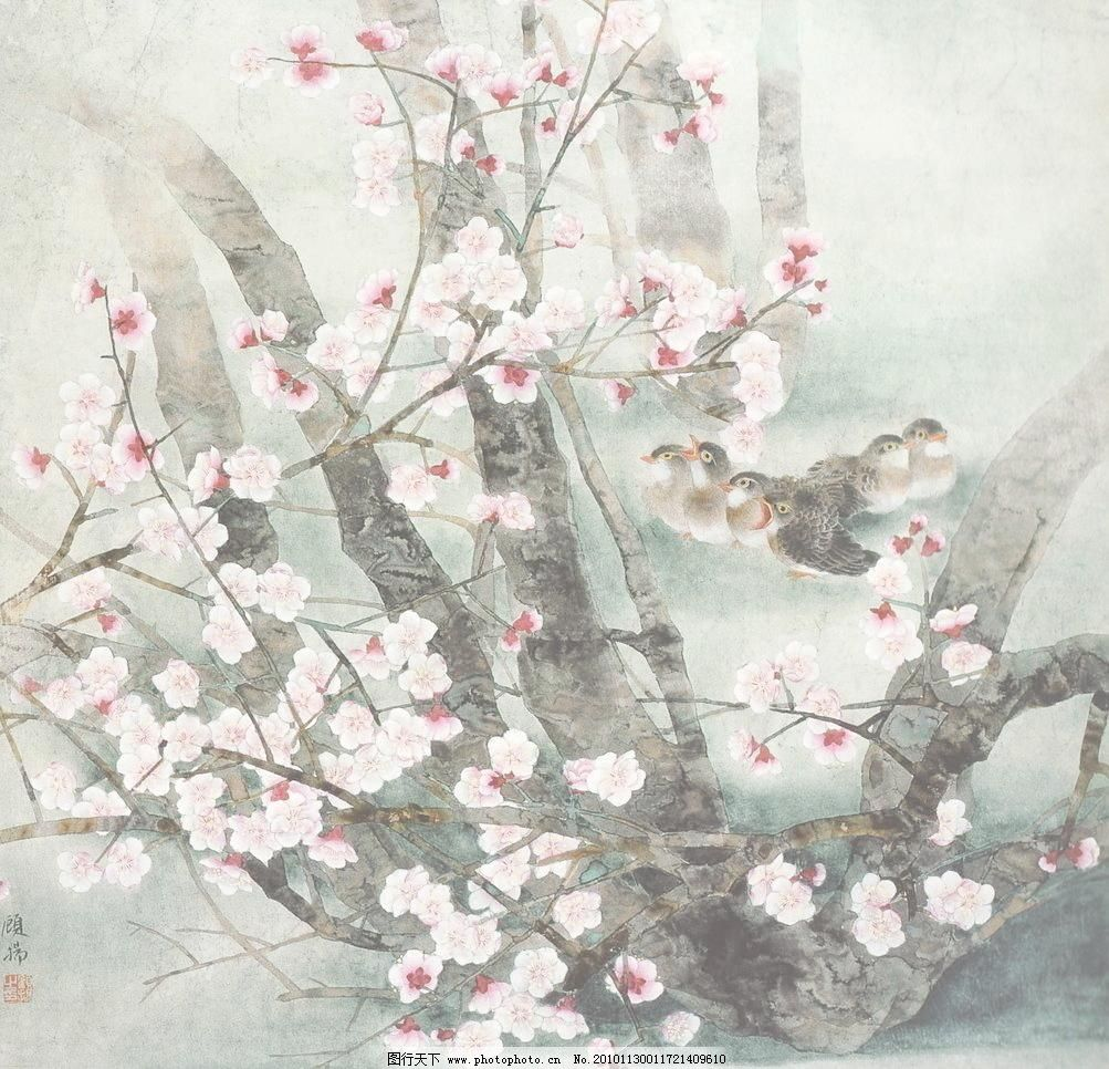浴春 白描画 动物 风景画 工笔画 国画 绘画书法 梅花 鸟类