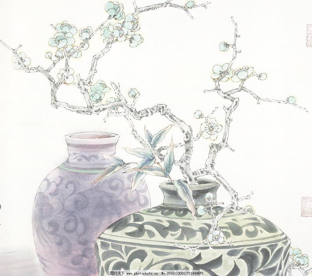 国画 中国画 植物 树木 大师作品 风景画 工笔画花草 梅花工笔画 白描