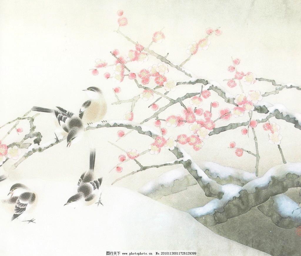 瑞雪 白描画 冬天 动物 风景画 工笔画 国画 绘画书法 梅花