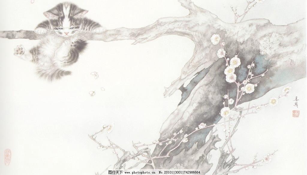 嬉戏 工笔画 线描 国画 中国画 植物 树木 大师作品 风景画 工笔画