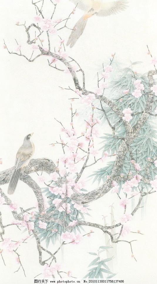 寒香 工笔画 线描 国画 中国画 植物 树木 大师作品 风景画 工笔画