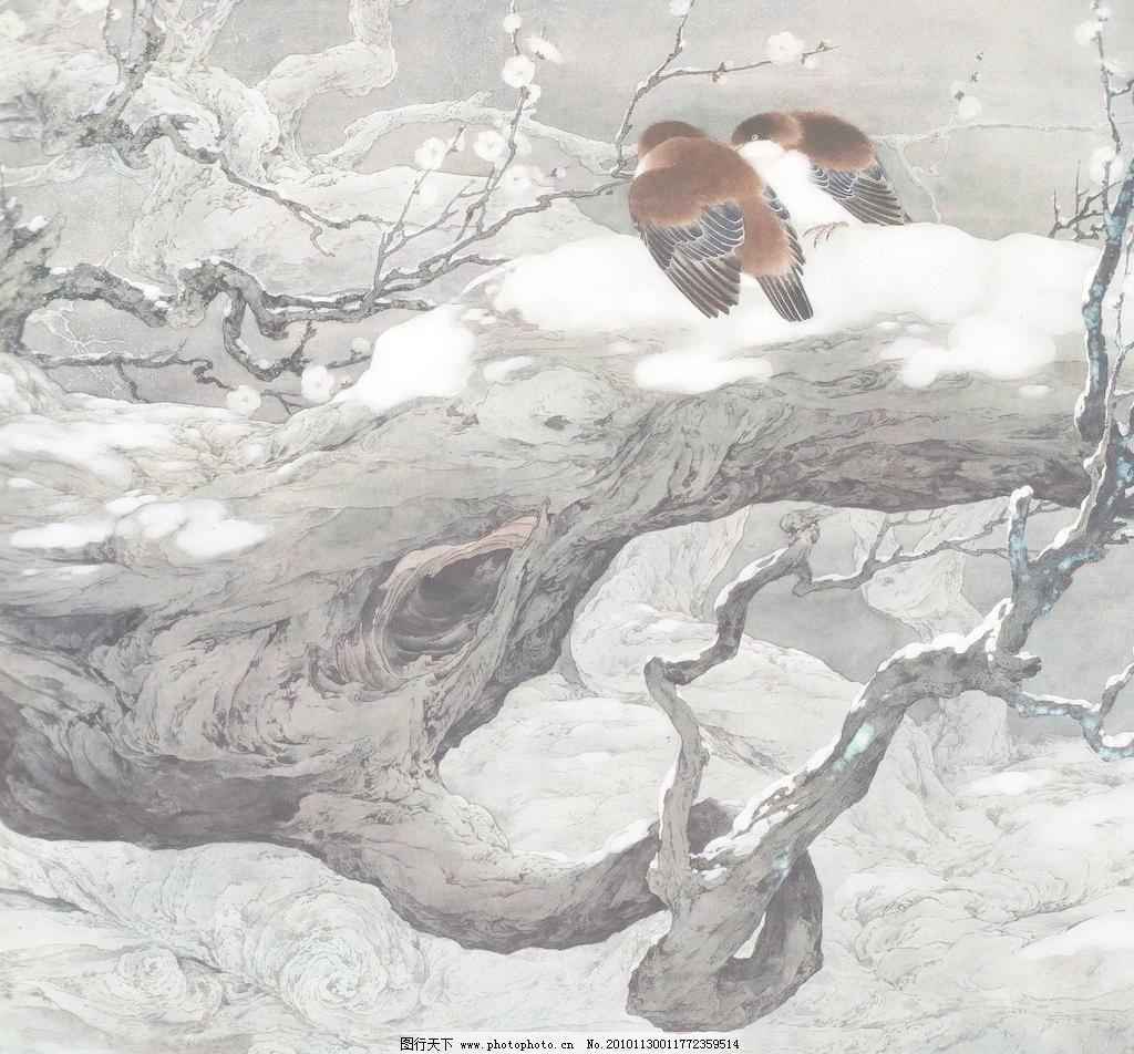 香雪 白描画 冬季 冬天 动物 风景画 工笔画 国画 绘画书法