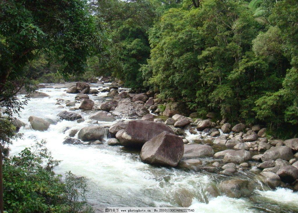 深山峡谷 流水 绿树 峡谷 乱石 自然风景 自然景观 摄影 72dpi jpg