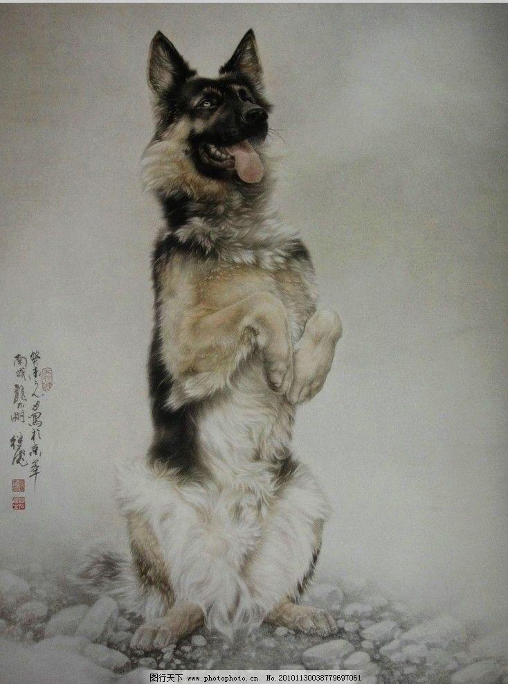 猎犬 猎狗 狗 观赏犬 国画 中国画 水彩画 水彩 写实 石头 油画 美术