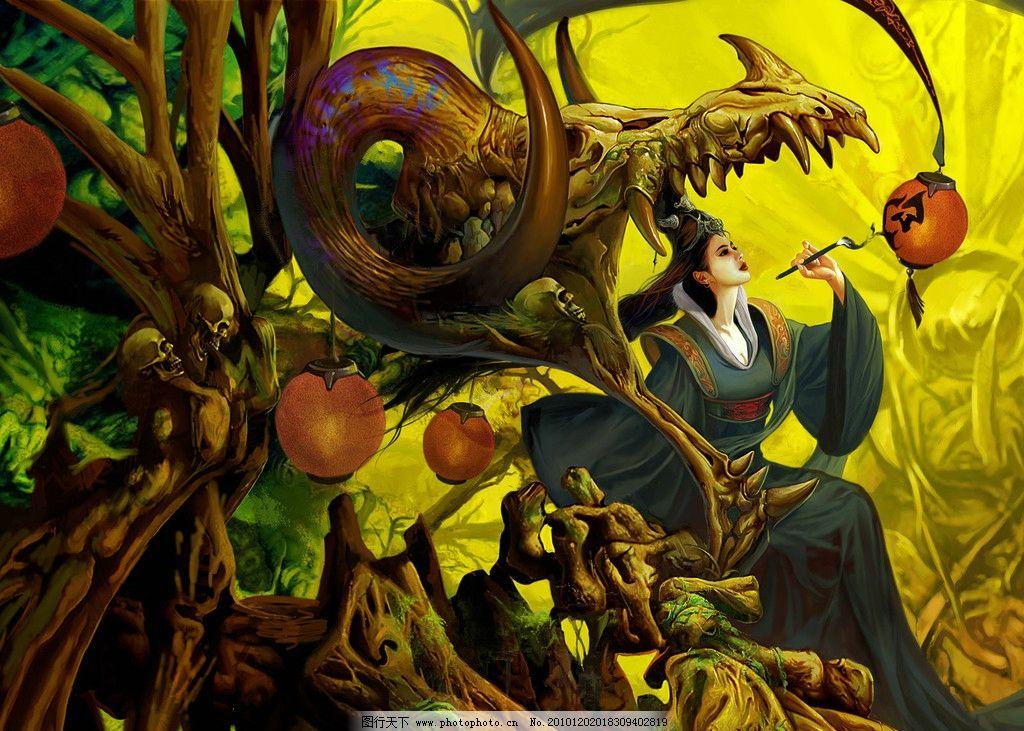 cg游戏 绘画 动漫 手绘 骷髅 灯笼 树根 森林 毛笔 动漫动画