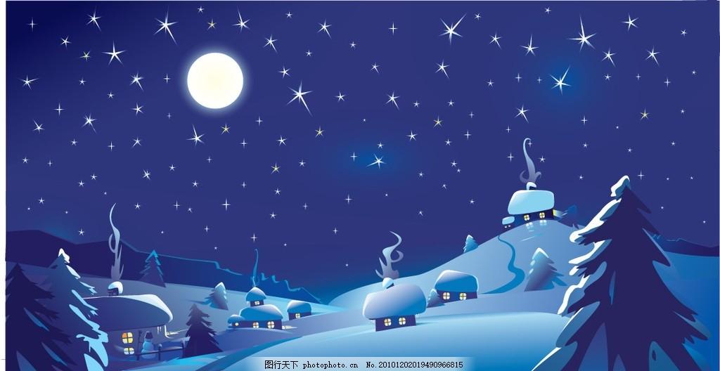 圣诞背景 圣诞主题 圣诞节 雪地 雪景 卡通圣诞夜 圆月 月亮图片