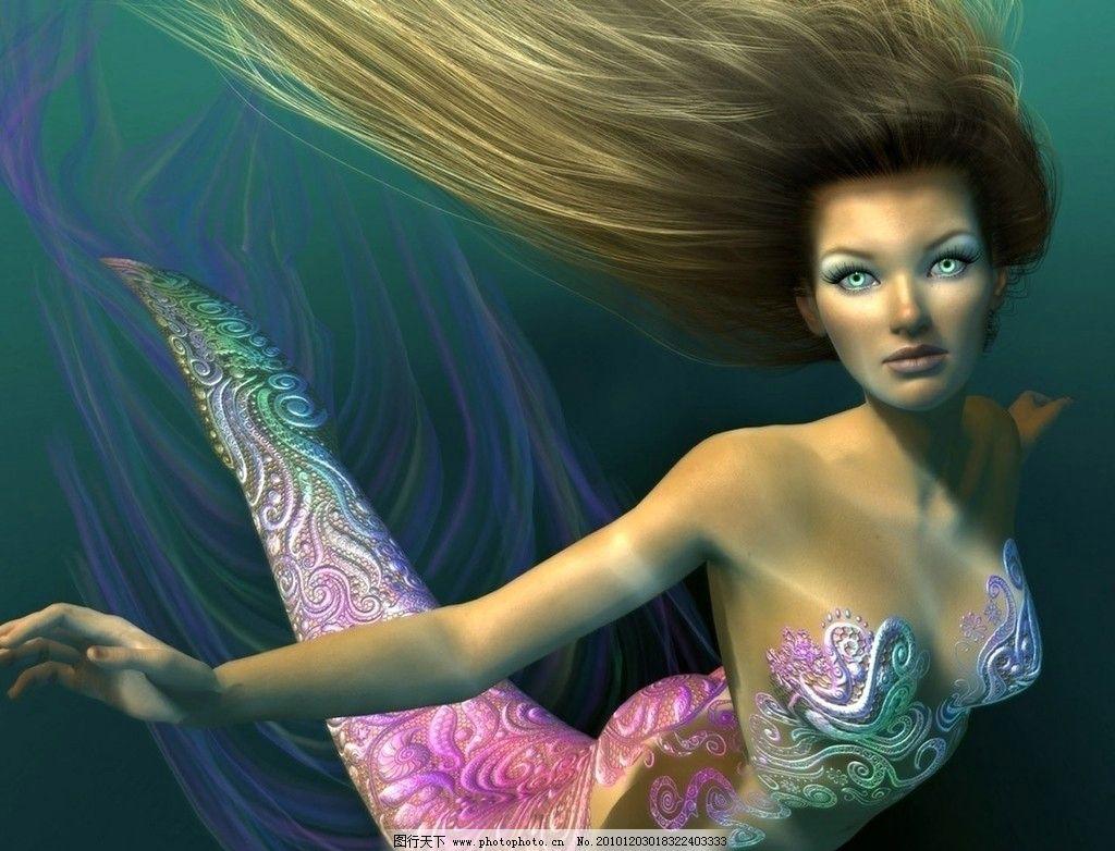 cg游戏 cg 游戏 绘画 动漫 手绘 美女 人鱼 绿眼睛 飘逸 长发 尾巴