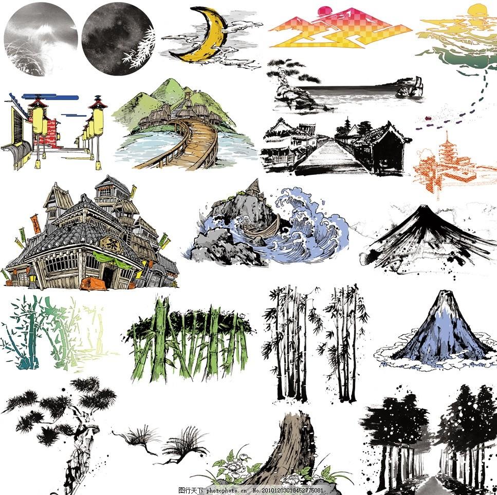 设计图库 动漫卡通 风景漫画  日本战国武士漫画场景背景 日本 战国