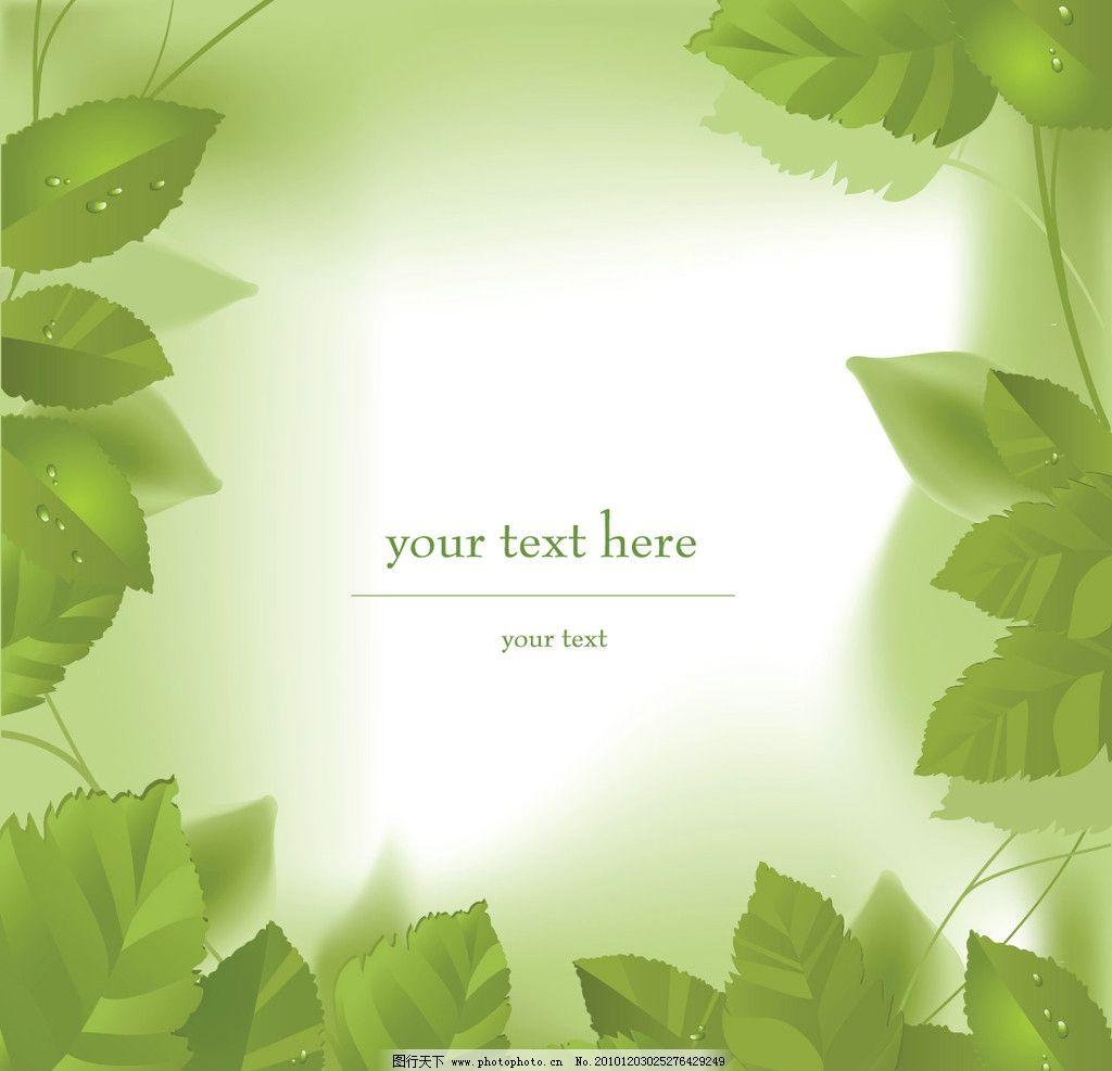 树叶 绿叶上的水珠 水珠 绿叶 绿叶边框底纹 叶子 矢量 eps 树木树叶