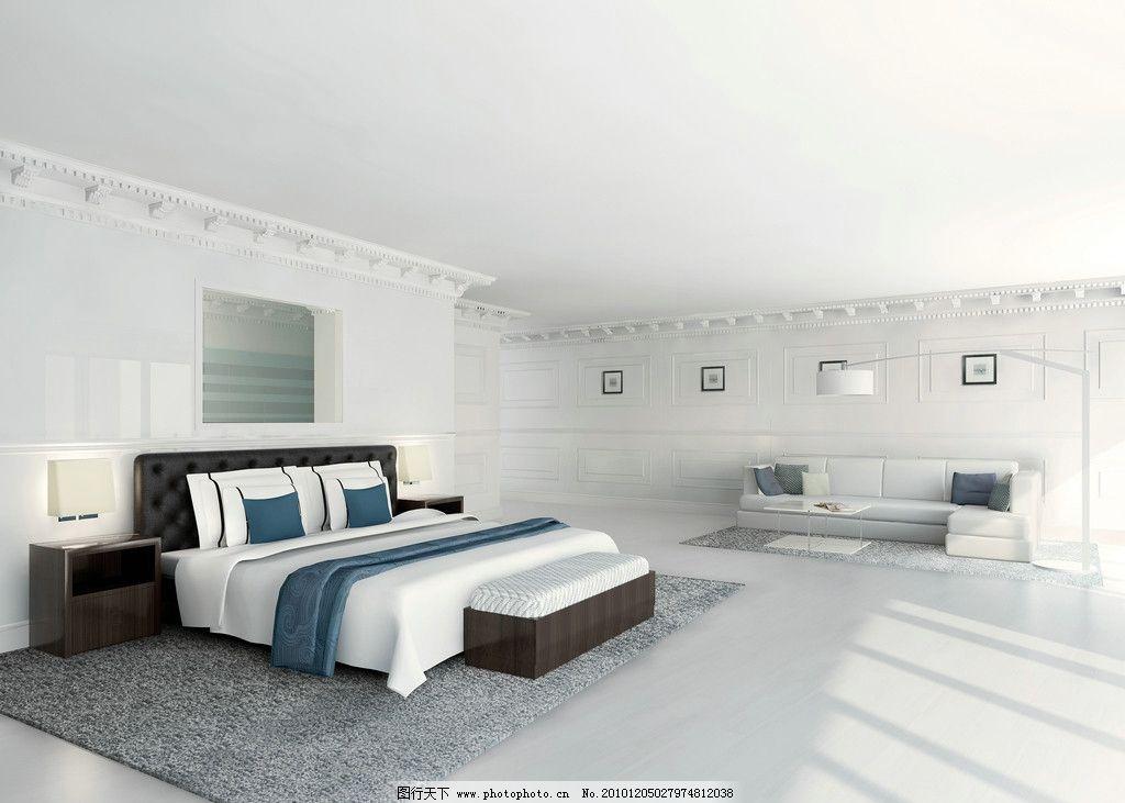 臥室效果圖 室內             設計 環境藝術 家裝 簡裝 白色 現代 3d