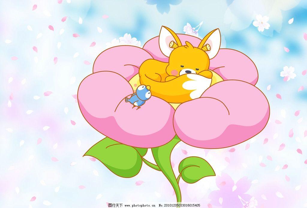 小动物 狐狸 花纹 小鸟 花朵 我的模板 psd分层素材 源文件 800dpi