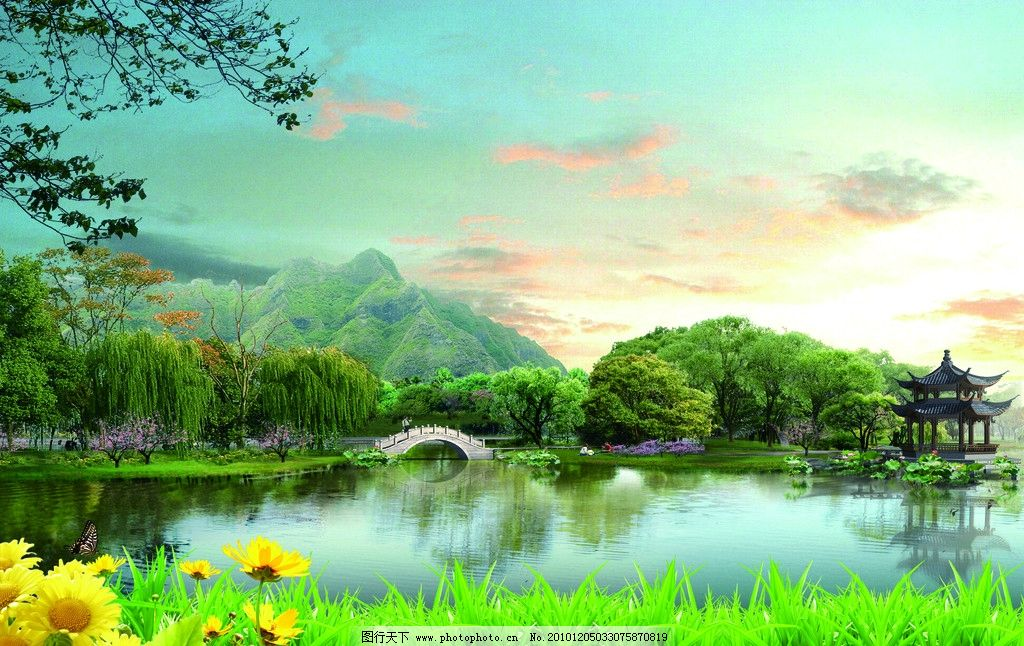 幻想绿色 山水画 山水 风景 山水风景 自然风景 自然风光 迎客松 大