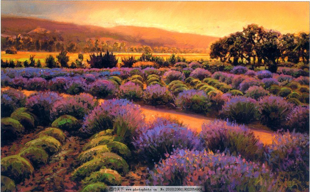 油画风景 山水油画 春色风光 抽象油画 紫色花卉 外国风光 绘画书法